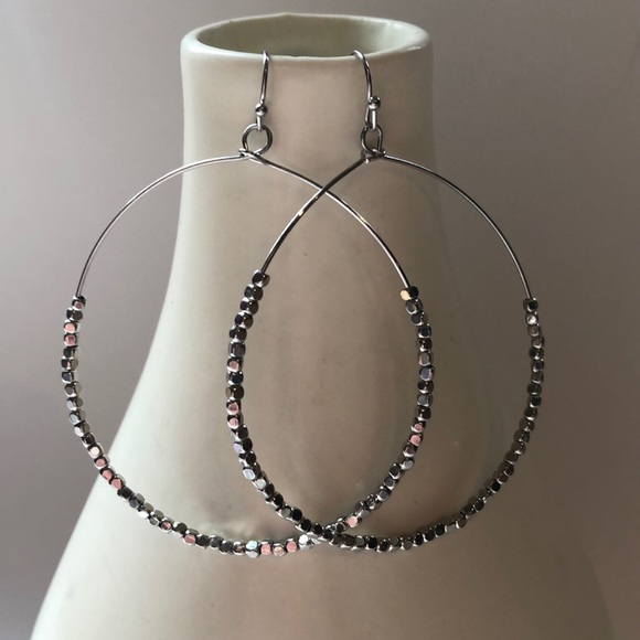 Jewelry - Silver hoop earrings with mini beads